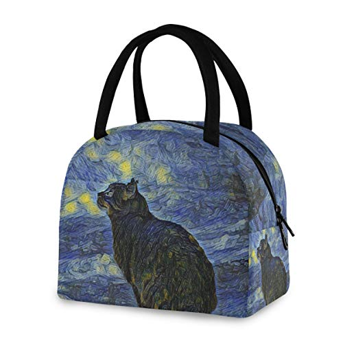 ZZKKO Galaxy Animal Cat Lunch Bag Box Tote Organizer Lunch Container Insulated Zipper Meal Prep Cooler Handbag For Women Men Home School Office Outdoor Use