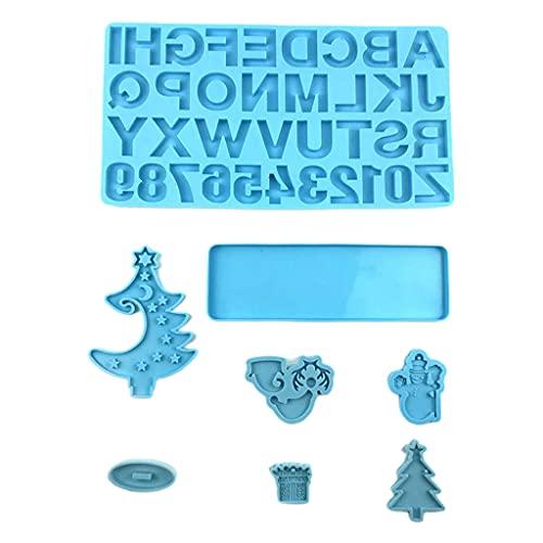 Gulang-keng motyw bożonarodzeniowy formy żywiczne dekoracje świąteczne choinka numery alfabetu forma silikonowa do odlewania żywicy epoksydowej tworzenie biżuterii, żywica DIY dekoracja wnętrz (rękodz