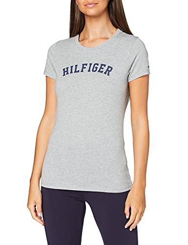 Tommy Hilfiger SS tee Print Camiseta, Gris (Grey Heather 004), M para Mujer
