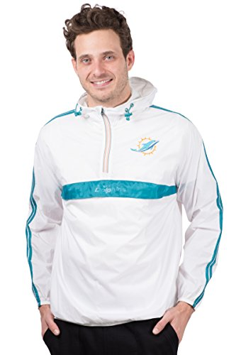 Ultra Game NFL Miami Dolphins Mens Quarter Zip Pullover Hoodie Packable Windbreaker Jacket, White, X-Large