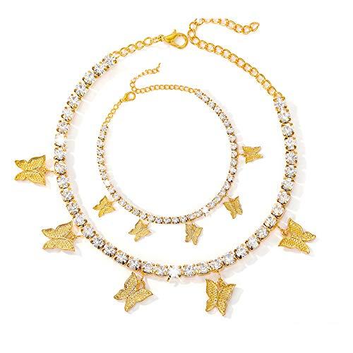Spiritlele Dainty Butterfly Pendant Necklace Ankle Bracelet Tennis Chain Gold Choker Pretty Fashion Personalized Jewelry Set Gift for Women Girls