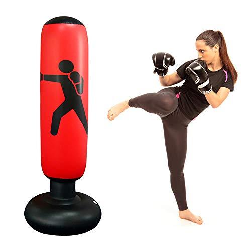 ODOMY Boxsack Standboxsack Aufblasbar für Fitness Krafttraining Muskelaufbau Schwarz und Rot für Erwachsene Kinder Jugenbdliche