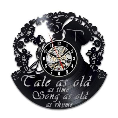 Mdsfe Reloj de Pared de Vinilo Vintage Diseño Moderno Pegatinas 3D de Dibujos Animados La Bella y la Bestia Relojes Colgantes Reloj de Pared Decoración para el hogar Silencioso 12'- 11