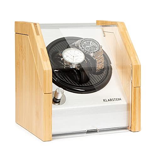 Klarstein Garonne - Caja para Relojes giratoria, Rotación bidireccional, Velocidades 1920/2304 / 7680 TPD, Caja bambú, Panel de Control alumnio, Ventana de visualización de Cristal acrílico, Blanco