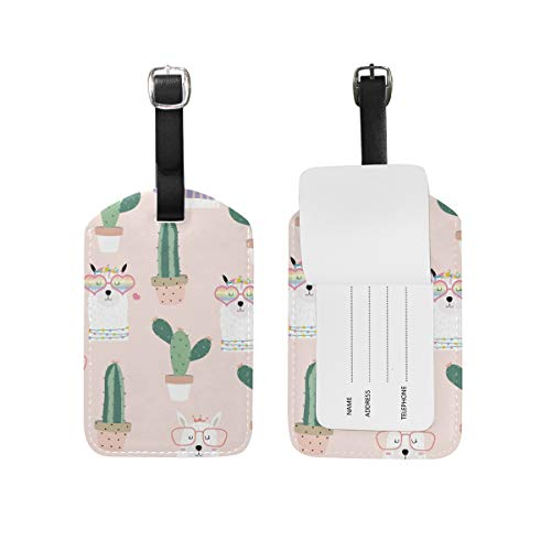 My Daily Alpaca Lama Cactus Luggage Tag PU Leather Bag Suitcases Baggage Label 1 Piece