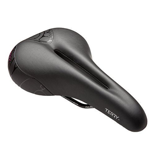 Terry Butterfly Cromoly Gel Bike Saddle   Bicycle Seat Optimized For Women - Flexible & Comfortable   Sit Bone Support, Thin Gel Layer, Ergonomic Design, Low Profile, Flat Top, Black Leather