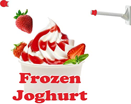 Werbeflagge Frozen Joghurt mit Erdbeeren