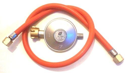 Schlauch 0,80 Meter und Druckminderer 50mbar für Gasbrenner, Kocher