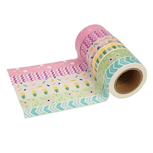 Très Chic Mailanda Nastro Adesivo Decorativo Washi Tapes Colorati Mascheratura Scrapbooking Set di 10 Multicolore per Artigianato, per Fai-da-Te e per Incartare Regali (Mix-F-6)