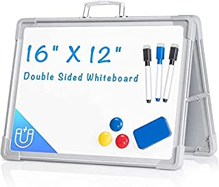 """Mumoo Bear Magnetic Board 12""""X16"""", Portable Dry Erase Board DoubleSided Desktop Foldable Easel for Kids Students Classroom..."""