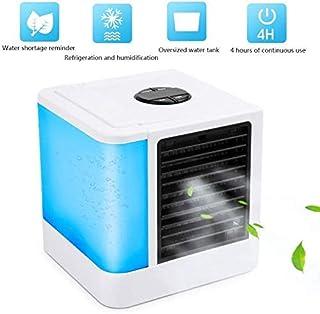MXA Enfriador de Aire Personal, Mini Aire Acondicionado portátil USB, Enfriador de Espacio 3 en 1 y humidificador y purificador con 5 velocidades, 7 Luces LED de Colores, a Prueba de Fugas