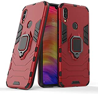 For Xiaomi Redmi Note 7 Iron Man 2 Protection Cover Case With Metal Ring & Magnetic Car Holder, Red