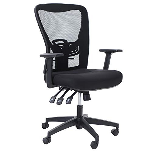 Sophia & William Ergonomic Rocking Mesh Office Desk Chair High Back, Modern 360° Swivel Executive Computer Chair with Height Adjustable Armrests, Lumbar Support, Black - 1 Pack, Load Capacity: 300 lbs