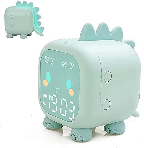 Floridliving Dinosaurio Despertador Infantil, Despertador Niña Niño con Luz Nocturna, Modo De Repetición, Temperatura, Cuenta Regresiva, Control De Voz, Alarma Dual, USB Despertador Digital (Verde)