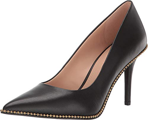 COACH 85 mm Waverly Pump with Beadchain Black Leather 9.5 M