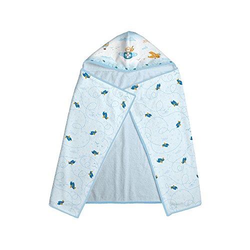 Papi Textil 0901137001 Toalha Felpuda Estampada com Capuz, 1.10 m x 70 cm, Azul Avião