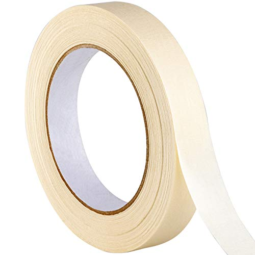 No-Residue 1 Inch, 60 Yard Masking Tape 1 Pk. Easy-Tear, Pro-Grade Removable Painters Tape Great for Home, Office or Commercial Contractor. Clean, Drip-Free Painting with Wide Crepe Paper Rolls