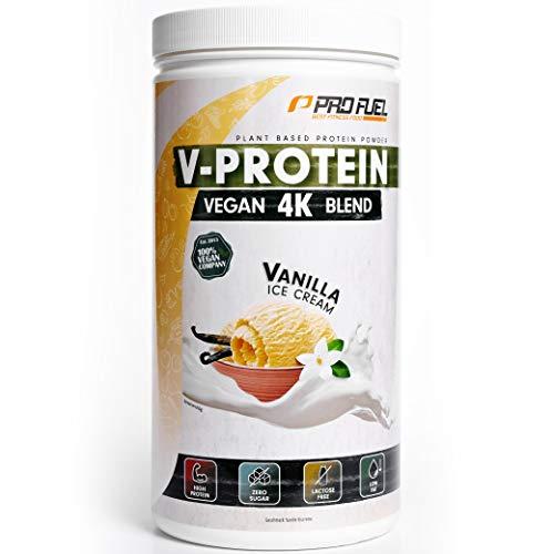 Vegan Proteinpulver – Vanille - V-PROTEIN 4K Blend, 750g | Unglaublich lecker & cremig | Aus Sonnenblumen, Soja, Hanfsamen & Kürbiskernen | Pflanzliches Eiweißpulver mit 81% Eiweiß