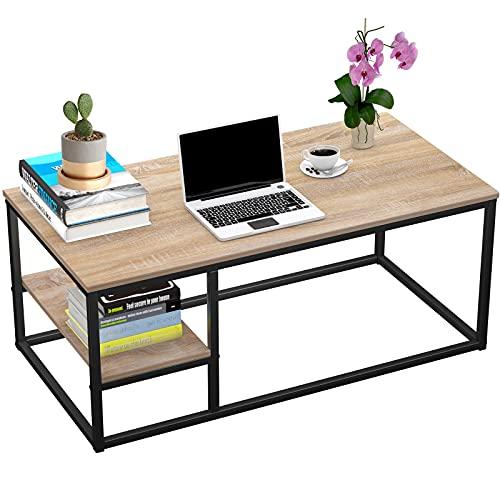 Mesa baja con estantería, mesa baja moderna, mesa de salón con función de almacenamiento, mesa rectangular 102 × 50 × 40 cm con estructura de metal (madera)