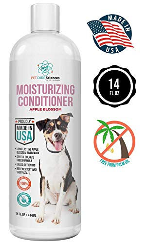 PET CARE Sciences Dog Conditioner for Dry Itchy Skin, Gentle Sulfate Free Formula for Post Shampoo Application, Conditions, Moisturizes and Detangles, Made in The USA, 14 Fl Oz Bottle