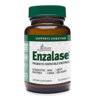 Master Supplements Enzalase - 50 Vegan Capsules - Probiotic Compatible Enzyme Supplement, Provides Digestive Boost, Gas and Bloating Relief - Gluten Free - 50 Servings