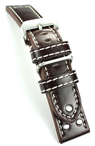 Sulla - Cinturino per orologio da polso da uomo, in pelle, 24 mm, XL,...