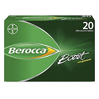 Berocca Boost Vitamin Tablets with Added Guarana and Caffeine, Vitamin B12, Also Contains Vitamin C and Magnesium, Pack of 20 - 3 Weeks Supply