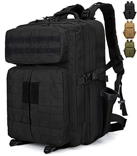 Doshwin Zaino Militare Molle Tattico Army Military US Assault Pack Tactical Backpack da Escursionismo Trekking Viaggio per Donna Uomo / 40L (Nero)
