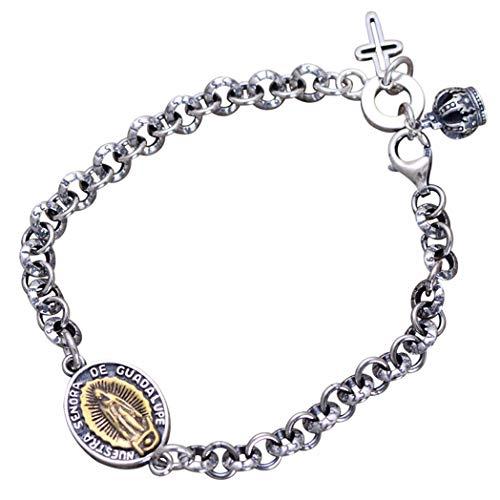 MTWTMSterling Silver Jewelry Virgen Maria Hombre Mujer Pareja Pulsera De Plata,Retro