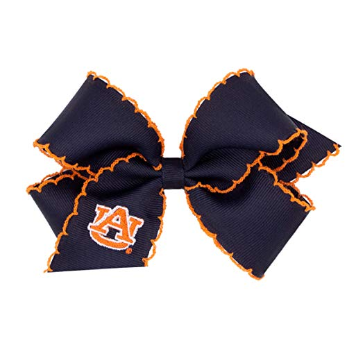 Wee Ones Girls Medium Size Embroidered Moonstitch Game Day NCAA Logo Hair Bow - Auburn