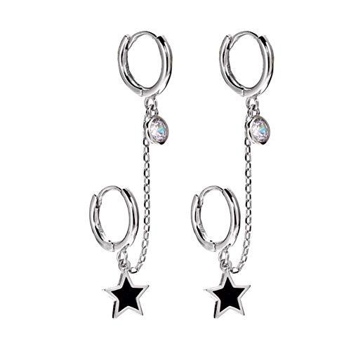 Pendientes de orejas dobles Pendientes de estrella de cinco puntas Plata