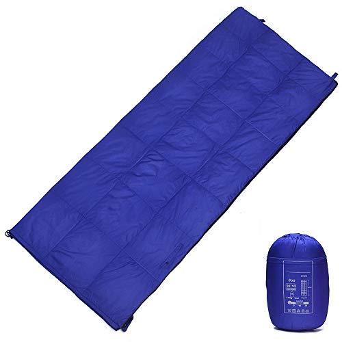 WODEPP Sac De Couchage Intérieur vers Bas, Sacs Couchage Plafond avec Sac Compression, Température Confort 5°C-25°C, 4 Saisons, Lit, Camping, Randonnée, 680G,Bleu