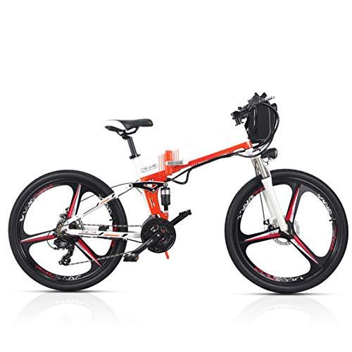 Bicicleta Eléctrica Montaña Plegable, 26 Pulgadas Bicicleta Eléctrica Conmutar para Adultos Que Viaja Estilo Opcional de Doble Batería Duración de la Batería de hasta 180 km,Blanco,B (Dual Battery)