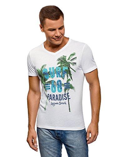 oodji Ultra Herren Bedrucktes T-Shirt mit V-Ausschnitt, Weiß, XL