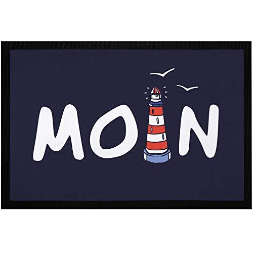 MoonWorks® Fußmatte Moin maritim Leuchtturm norddeutsch Hallo Willkommen rutschfest & waschbar schwarz 60x40cm