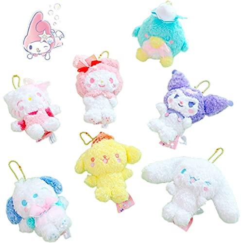 7pcs/Set 10Cm Kuromi Kitty Mymelody Pompom Purin Cinnamoroll Pc Dog Japanese Pendant Soft Plush Toy Stuffed Cartoon Keychain Doll Toys Kids Birthday Gifts