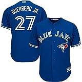 YQSB Camiseta Deportiva Baseball Jersey Uniforme de béisbol Toronto Jays # 27 Guerrero Jr,Blue,Men-XL
