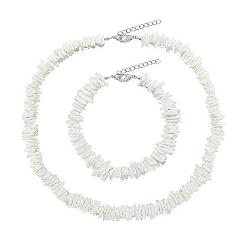 Puka Shell Necklace for Women Handmade Clam Chips Puka Shell Beach Choker Necklace White Sea Shell Necklace Anklet Set Hawaiian Beach Jewelry …
