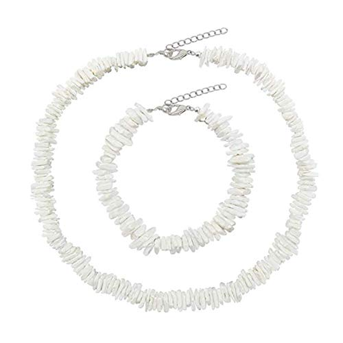 Dremcoue Puka Shell Necklace for Women Handmade Clam Chips Puka Shell Beach Choker Necklace White Sea Shell Necklace Anklet Set Hawaiian Beach Jewelry