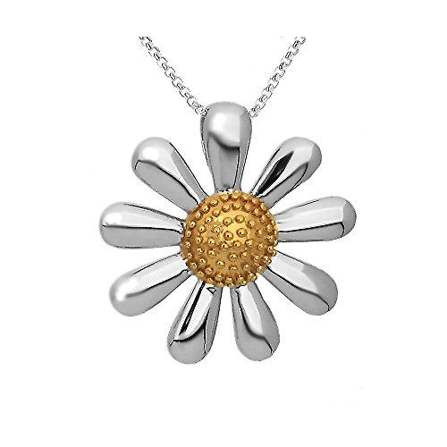 Silberner Gänseblümchen-Anhänger, 20mm Daisy mit vergoldeter Mitte in einer Geschenkbox