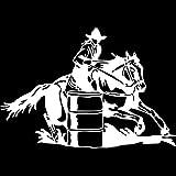 BDDLLM 20 cm * 13,7 cm Barril de Carreras Vaquera Chica Rodeo Caballo Coche Ventana Vinilo calcomanía Moda Coche Pegatina S6-2749Plata