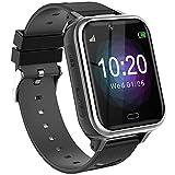Reloj Teléfono para Niños,Smartwatch Llamadas Bidireccionales Despertador Cámara Linterna Alarma Juego Pantalla Táctil Inteligente para Niños Regalo Estudiantes Regalo para Niños Niña 3-12(Negro)