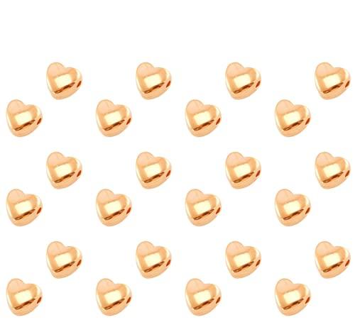 Sadingo Perlas de oro rosa de 6 mm, 24 unidades (doradas), pulsera de perlas de metal en forma de corazón, juego de perlas para manualidades, joyas, cadenas, pulseras de pie