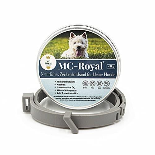 MC-Royal® Zeckenhalsband für kleine Hunde und Katzen - Effektiver Schutz vor Ungeziefern - wasserdicht und verstellbar - bis zu 8 Monate Zeckenschutz mit 100% natürlichen inhaltsstoffen