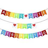 BETESSIN Alles Gute Zum Geburtstag Girlande Bunte Filz Happy Birthday Party Banner Deko zum Aufhängen Dekoration für Geburtstagsparty