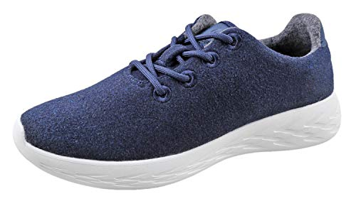 Urban Fox Parker Herren Woll-Sneaker | Wollschuhe | Laufschuhe | Wanderschuhe für Herren, Blau (navy), 47 EU