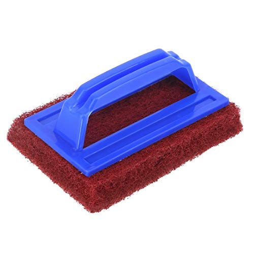 Sanctity Multi Purpose Tile Floor Cleaning Bathroom Scrubber Pad with Abrasive Fibre Web with Handle (Heavy Duty, Multi Color)
