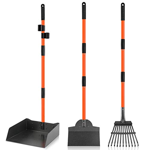 INTECAL Pooper Scooper for Large Dogs, Pet Waste Removal Bigger Dog Pooper Scooper with Metal Tray, Rake & Spade, Easy to Use Poop Scooper Set with Long Handle, Great for Lawn/Grass/Dirt/Gravel