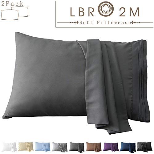 LBRO2M Polyester Pillow Cover Two Pack Pillowcase Bulk SetSoft Bedding Quality Microfiber Luxury Breathable Hypoallergenic Hair SkinSet of 2 Envelope Closure Dark Grey King/Queen 20quotx40quot