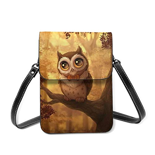 IUBBKI Universal Lightweight Leather Phone Purse, Night Owl Small Crossbody Bag Cell Phone Pouch Shoulder Bag